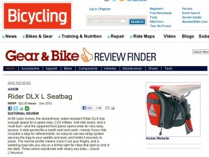 Axiom Rider DLX seat bag in bicycling.com magazine