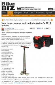 Review of Axiom bags, rack, and pump in bikebiz.com