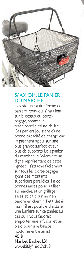 Axiom bicycle Market Basket LX review in Vélo Urbain magazine